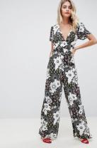 ASOS DESIGN tea jumpsuit in mixed floral print