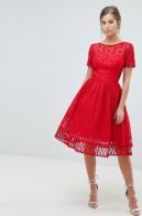Chi Chi London Premium Lace Prom Dress with Cutwork Hem