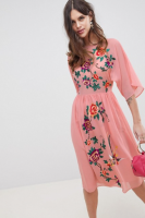 ASOS DESIGN Smock Midi Dress With Bird And Floral Embroidery