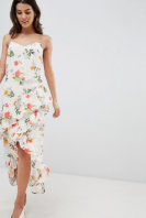 Vila Floral Printed Wrap Midi Dress