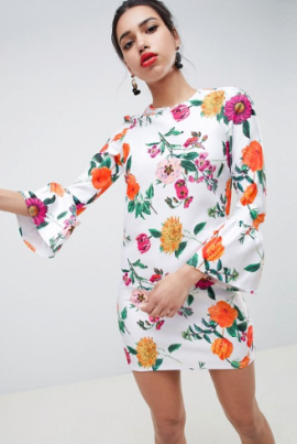 ASOS DESIGN botanical shift dress with fluted sleeves