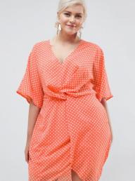 Little Mistress Plus emMissguided Plus Twist Front Polka Dot Dress bellished sleeve maxi dress in navy