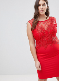 Lipsy Curve Lace Applique Bodycon Dress
