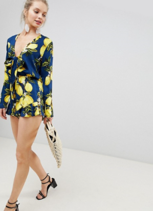 Glamorous Playsuit With Frill Shorts And Bow Front In Lemon Print