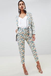 ASOS DESIGN tailored jacquard wisteria trousers co ord