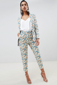 ASOS DESIGN tailored jacquard wisteria trousers co ord