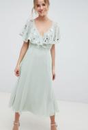 ASOS DESIGN embellished wrap midi dress with flutter sleeve