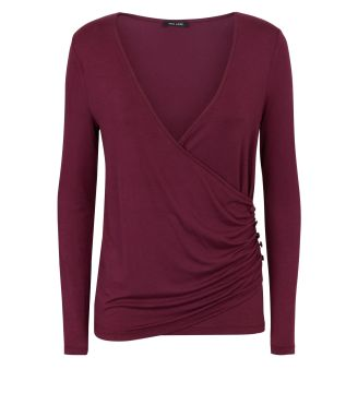 burgundy-ruched-button-side-wrap-front-top