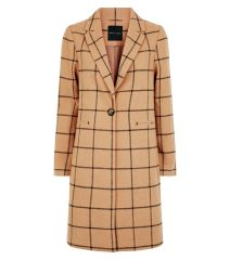 camel-grid-check-longline-coat