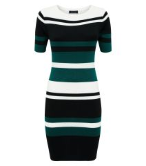 green-colour-block-stripe-ribbed-bodycon-dress