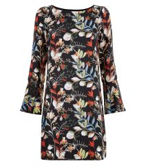mela-black-floral-print-bell-sleeve-dress