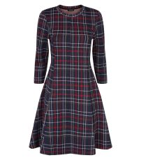 navy-tartan-jacquard-long-sleeve-swing-dress