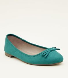 wide-fit-dark-green-suedette-ballet-pumps