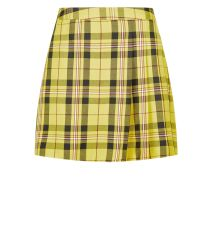 yellow-check-pleated-mini-skirt