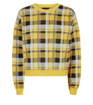 yellow-fine-knit-rib-trim-check-top