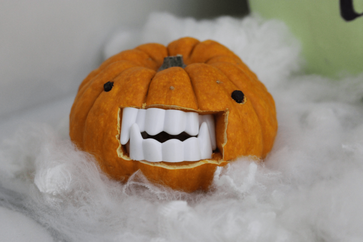 Mini Pumpkin with fangs