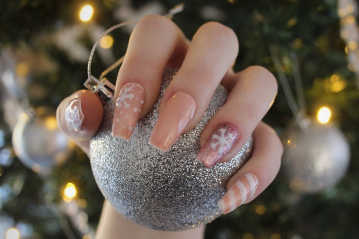 Nude Christmas Nails
