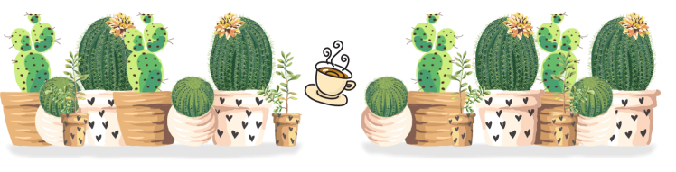 Blog Footer with Cacti and Tea Cup