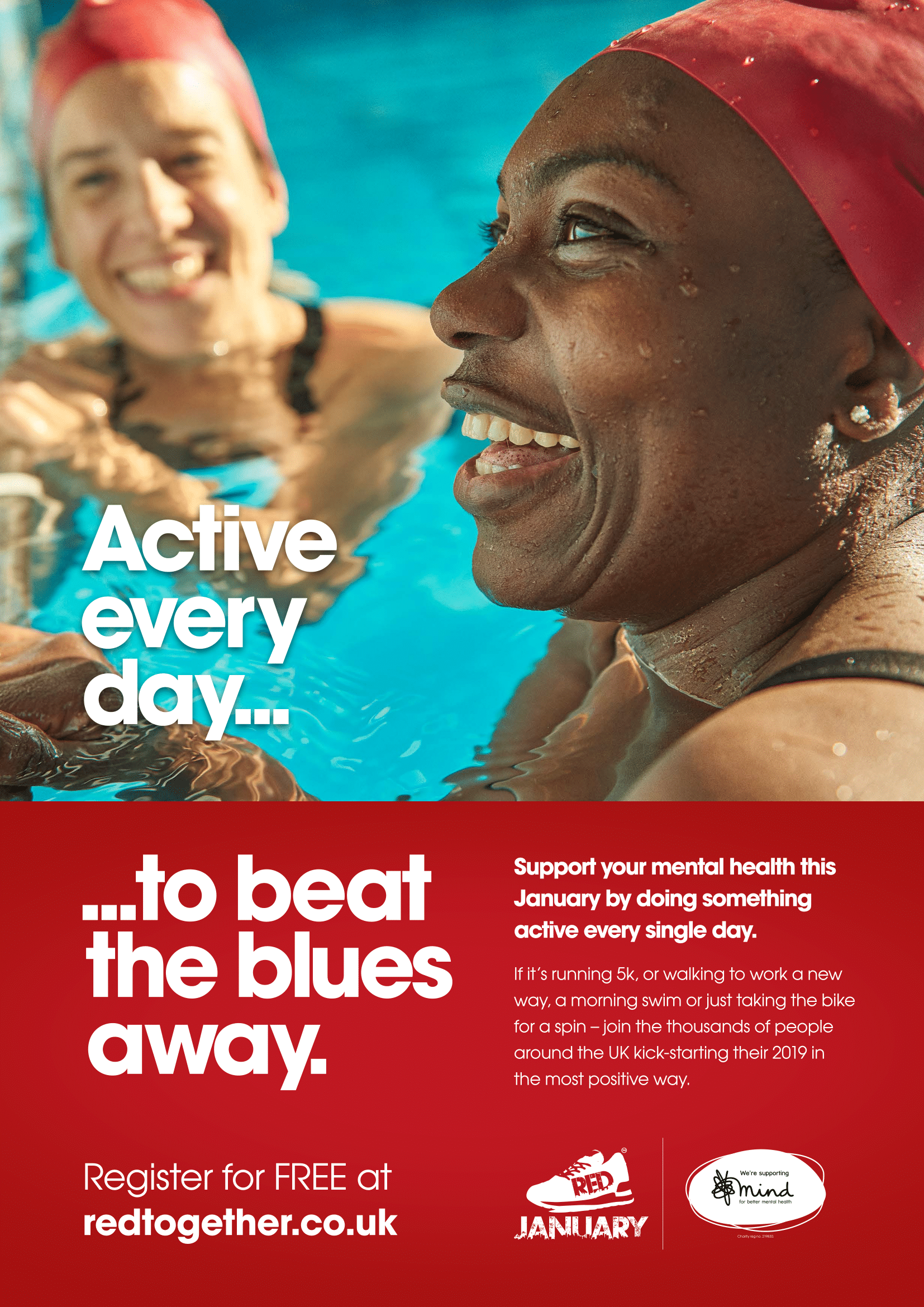 RED January Poster - I'm getting active every day, to beat the blues away.