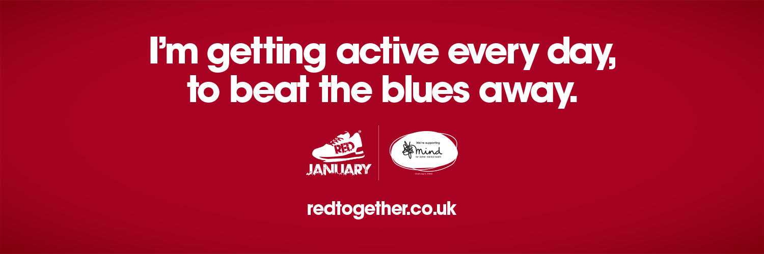 Red January Banner - I'm getting active every day, to beat the blues away.