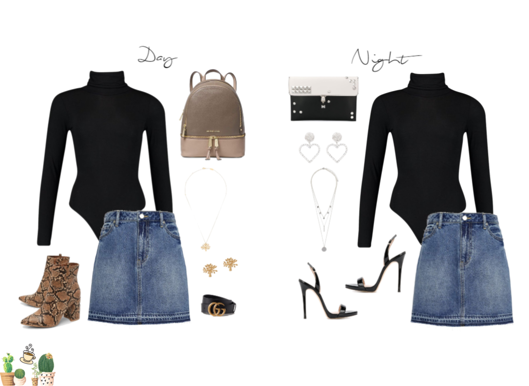 Day to Night Denim Skirt Look