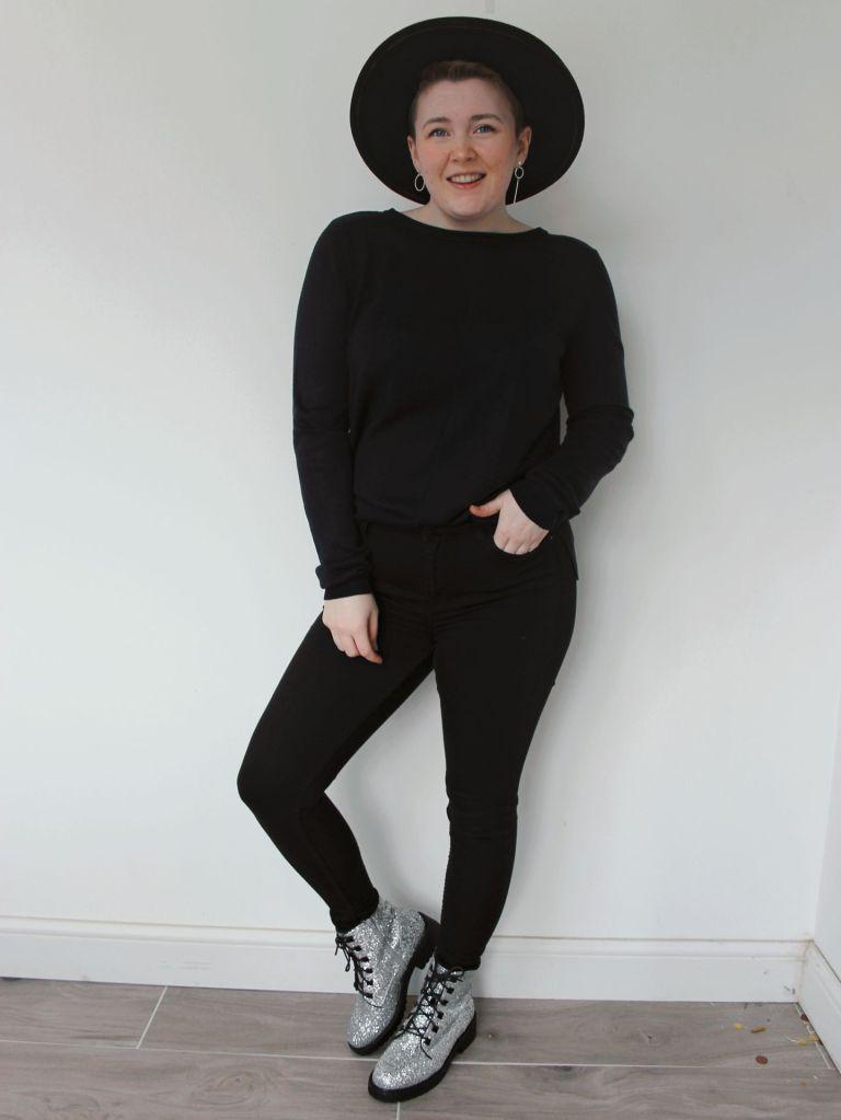All Black Glitter Boots